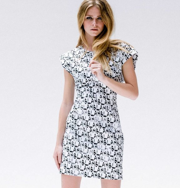 This is Lily Jersey cocktail dress with BLAH BLAH print