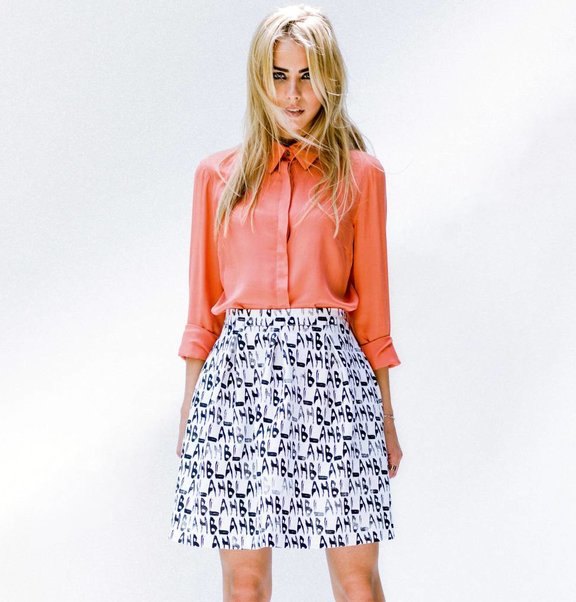 This is Lily Jerey balloon skirt with BLAH BLAH print