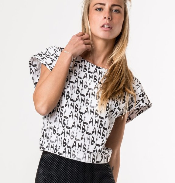 This is Lily Shoulder top with blah blah print