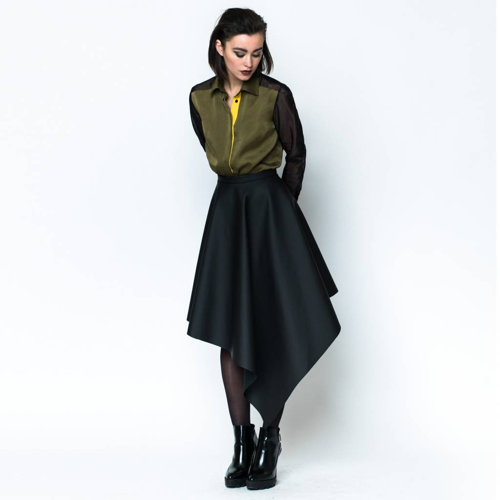 This is Lily Slave to the Rhythm - Asymmetrical Rubber Midi Skirt Black