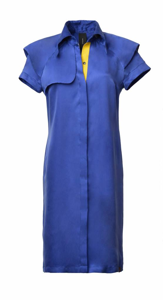 This is Lily Always Stay True - Cupro Trench Dress Blue