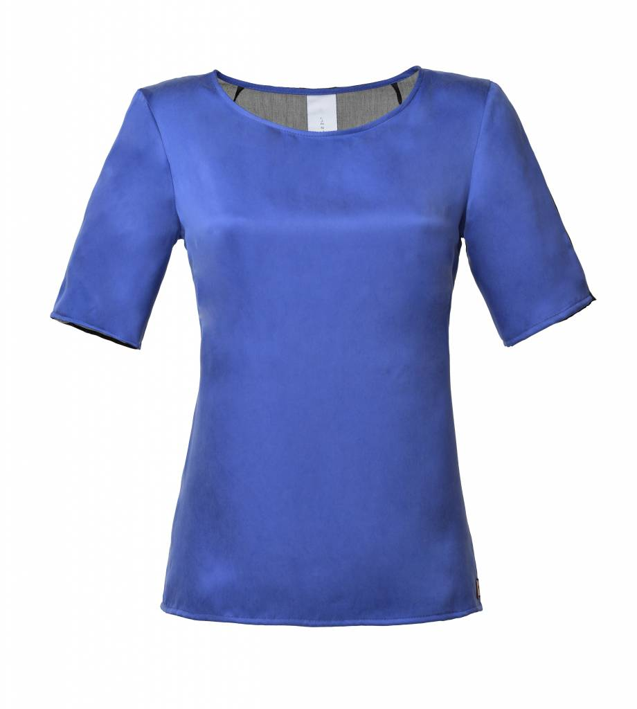 This is Lily My Terms- Cupro and Viscose-Silk Top Blue-Black