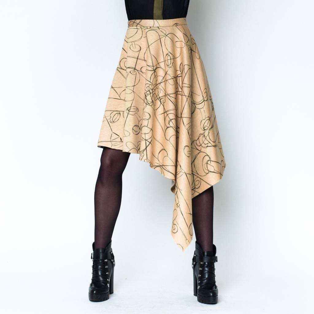 This is Lily Slave to the Rhythm - Asymmetrical Scuba Midi Skirt Needle Print