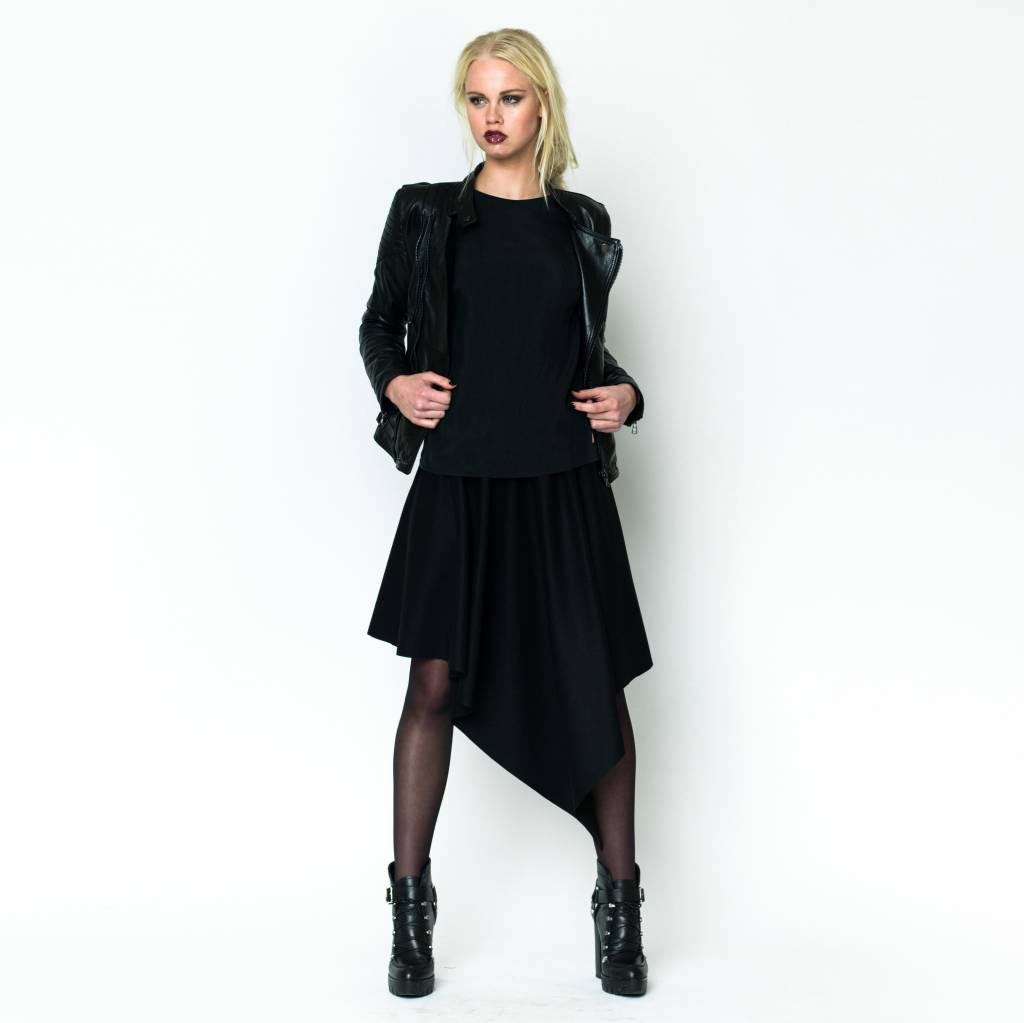 This is Lily Slave To The Rhythm - Asymetrical Cashmere Wool Midi Skirt Black