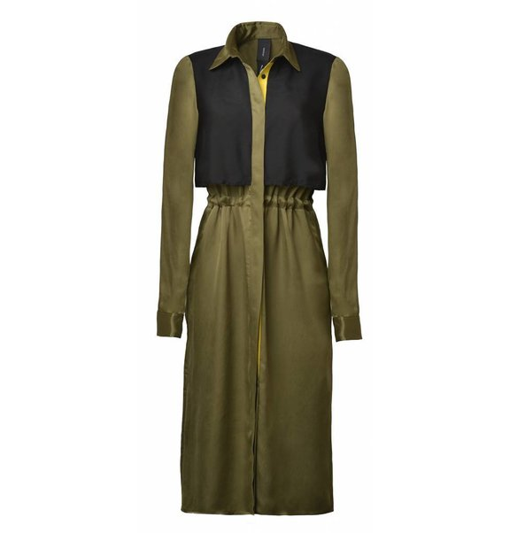 This is Lily Cupro Blouse Dress Green-Black