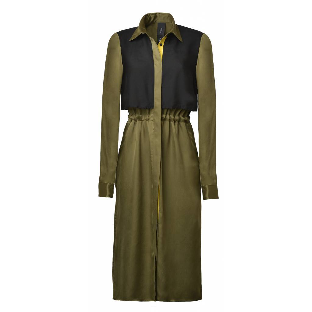 This is Lily Free Will - Cupro Blouse Dress Green-Black