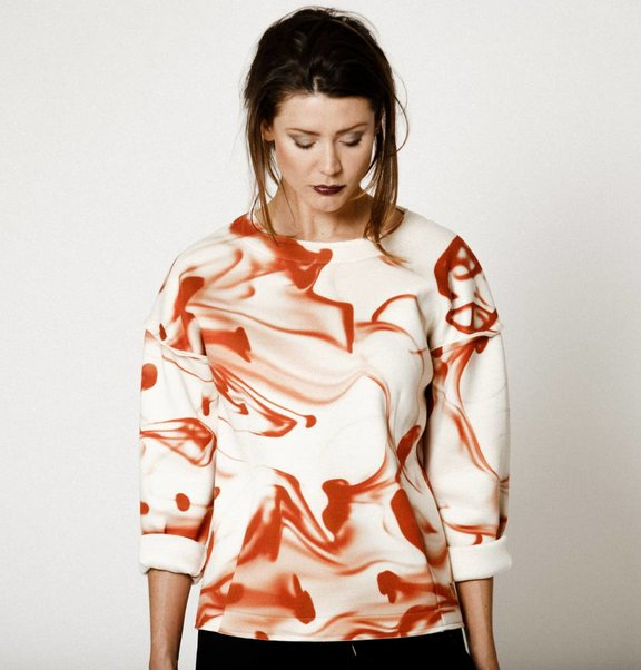 This is Lily Scuba Sweater Blood Print