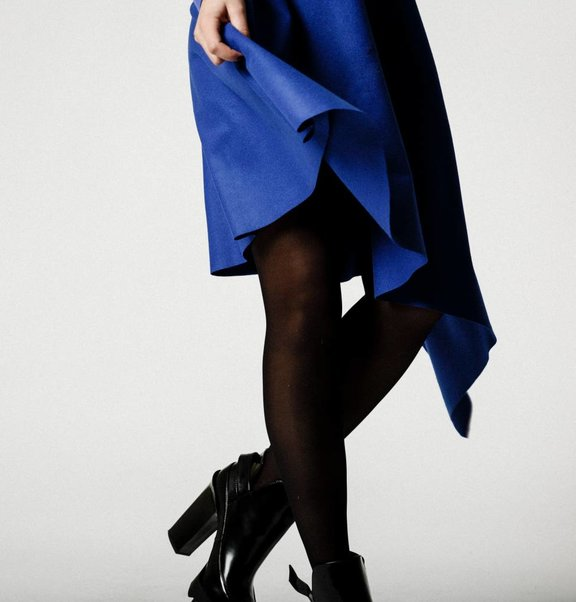 This is Lily Asymmetrical Cashmere Wool Midi Skirt Blue