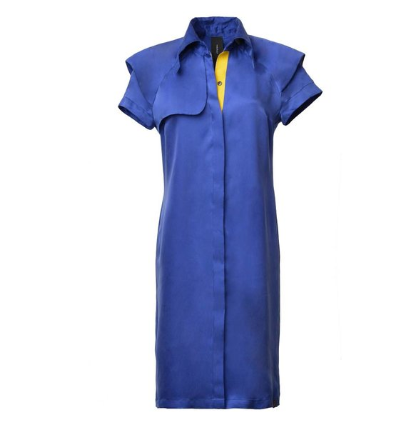 This is Lily Cupro Trench Dress Blauw