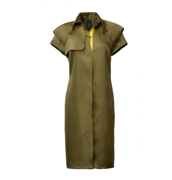 This is Lily Cupro Trench Dress Groen