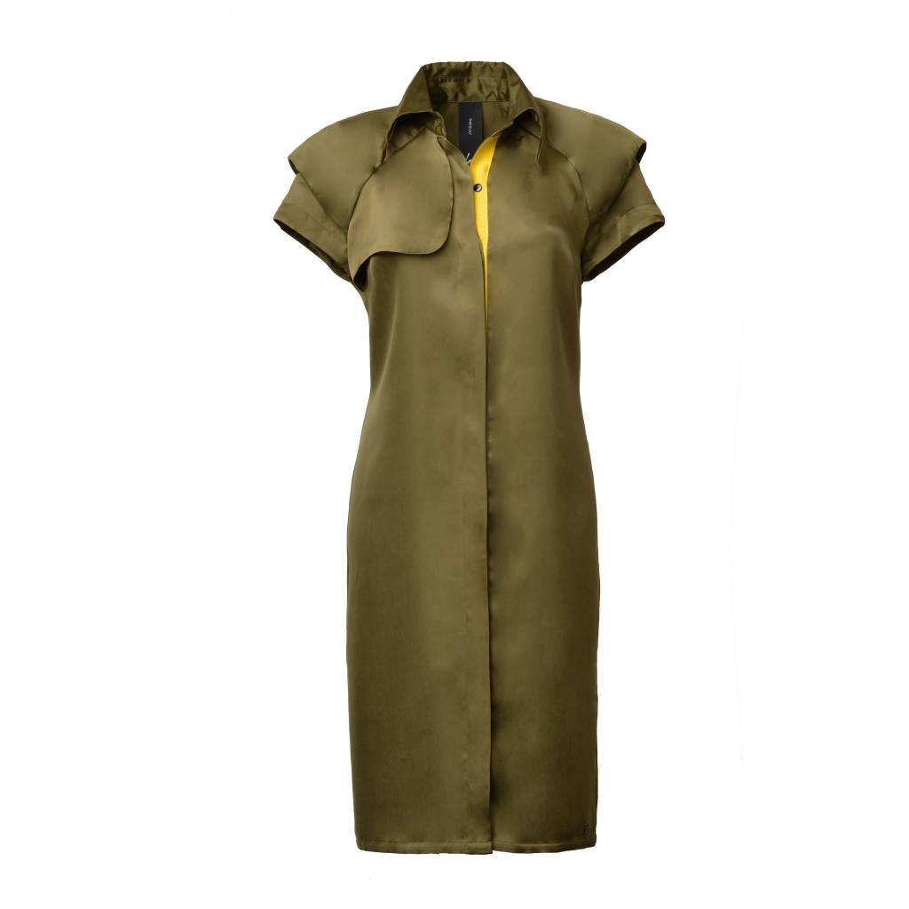This is Lily Always Stay True - Cupro Trench Dress Green