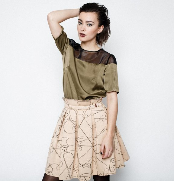 This is Lily Scuba Pleated Skirt Needle Print