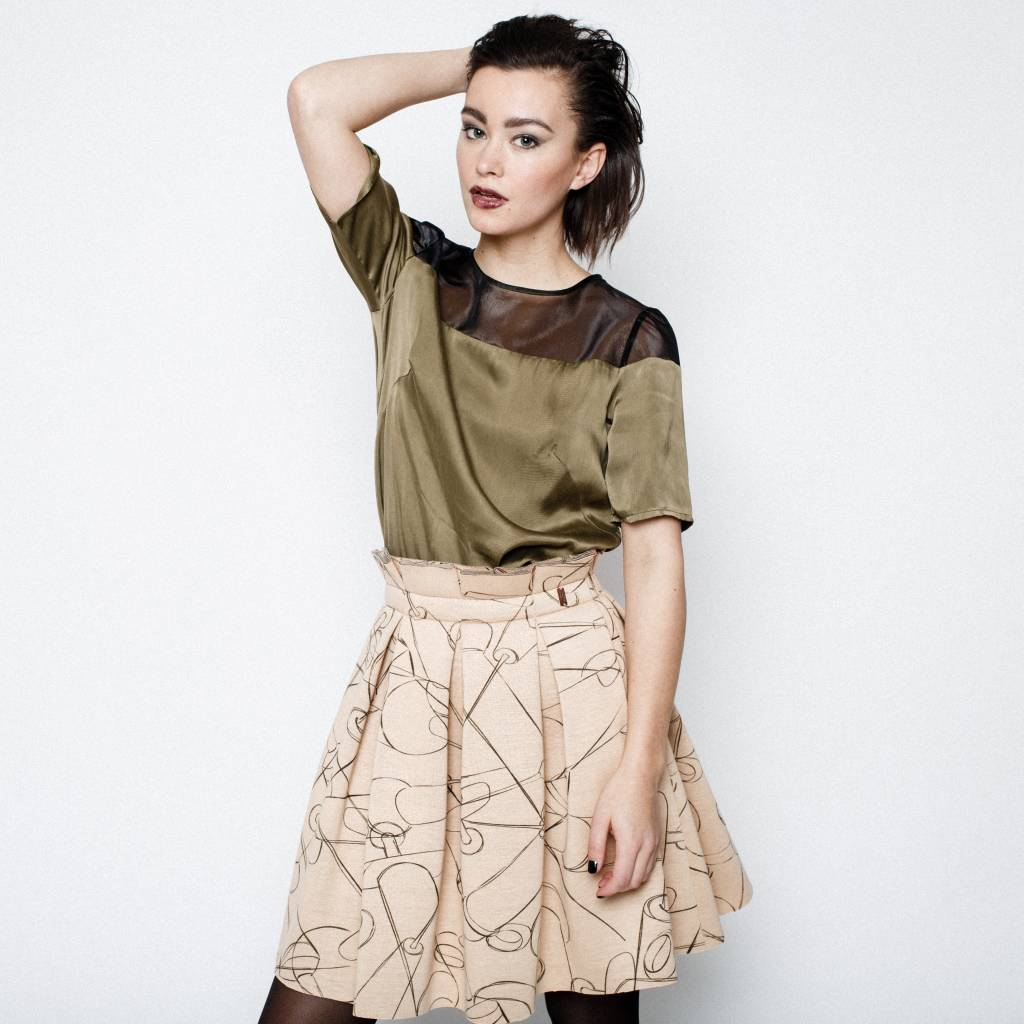 This is Lily DNA Dependence - Scuba Pleated Skirt Needle Print