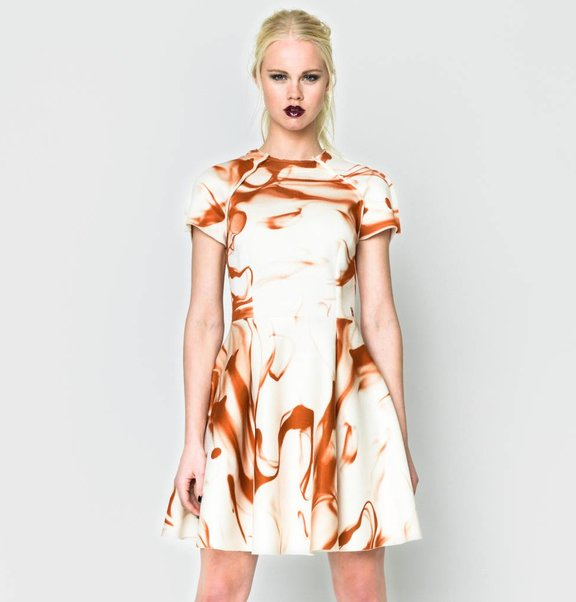 This is Lily Scuba Circle Dress Blood Print