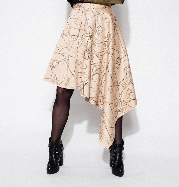 This is Lily Asymmetrical Scuba Midi Skirt Needle Print
