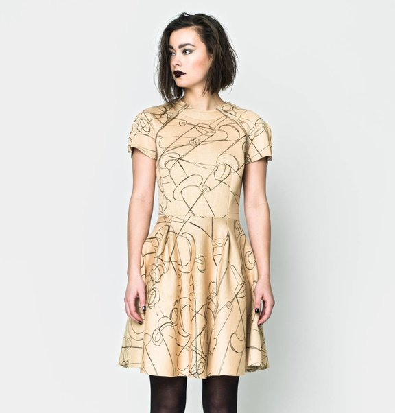 This is Lily Scuba Circle Dress Needle Print