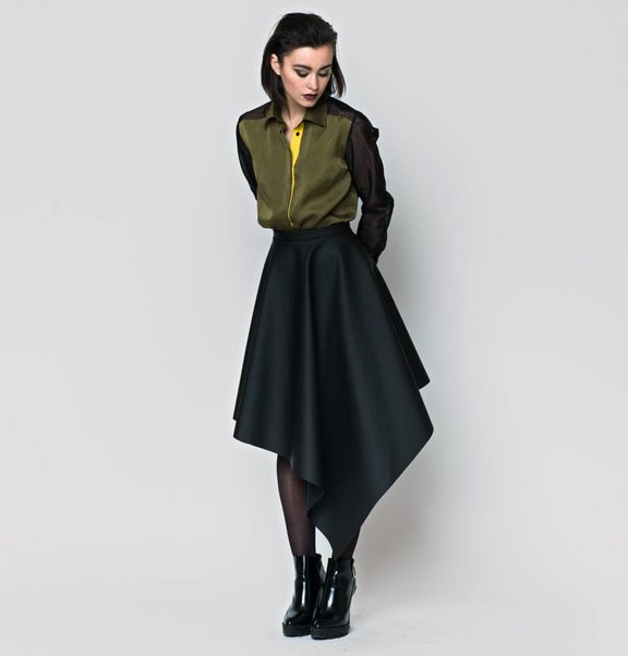 This is Lily Asymmetrical Rubber Midi Skirt Black