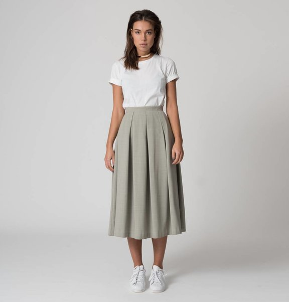 This is Lily Wool Blend Pleated Skirt Moss Grey