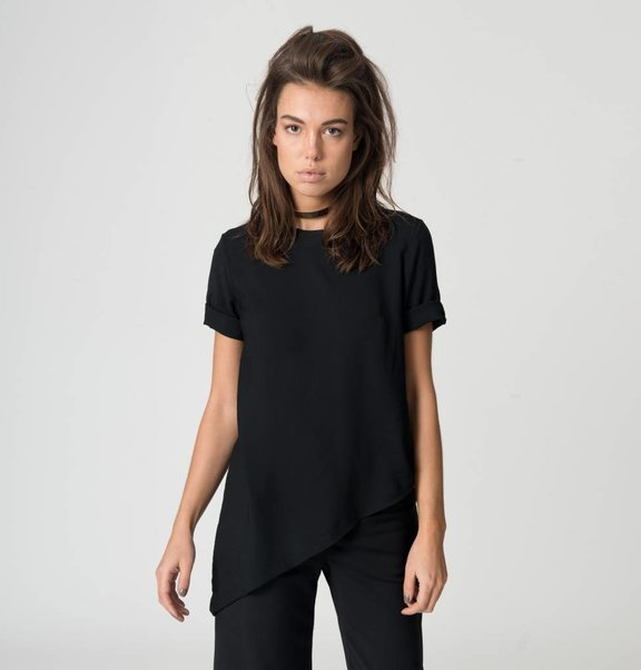 This is Lily Asymmetrical Top Black
