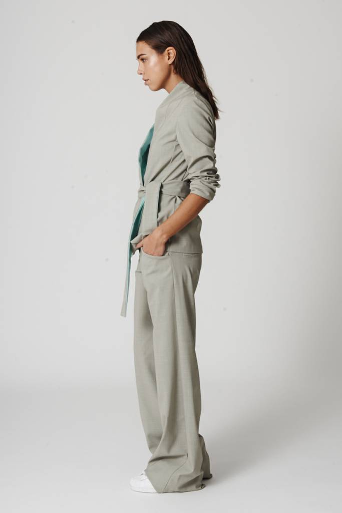 This is Lily Pantalonely - Woolblend Trousers Moss Grey