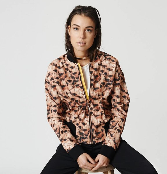 This is Lily Bomber Jacket Feather Print