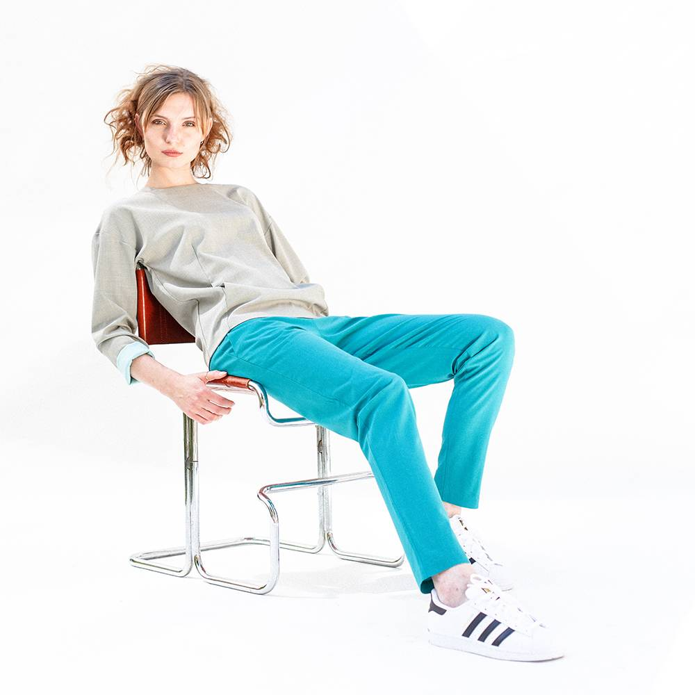 This is Lily Eaglelegtic - Turquoise Wool Jogger