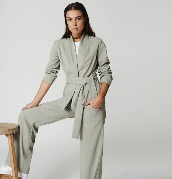 This is Lily Woolblend Trousers Moss Grey