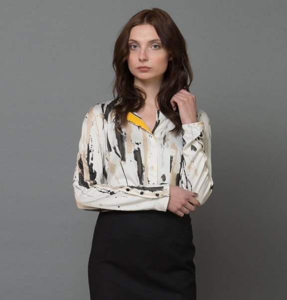 blouse with paint print