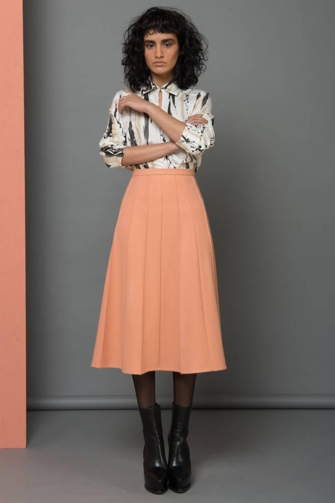 blouse met opening verfprint
