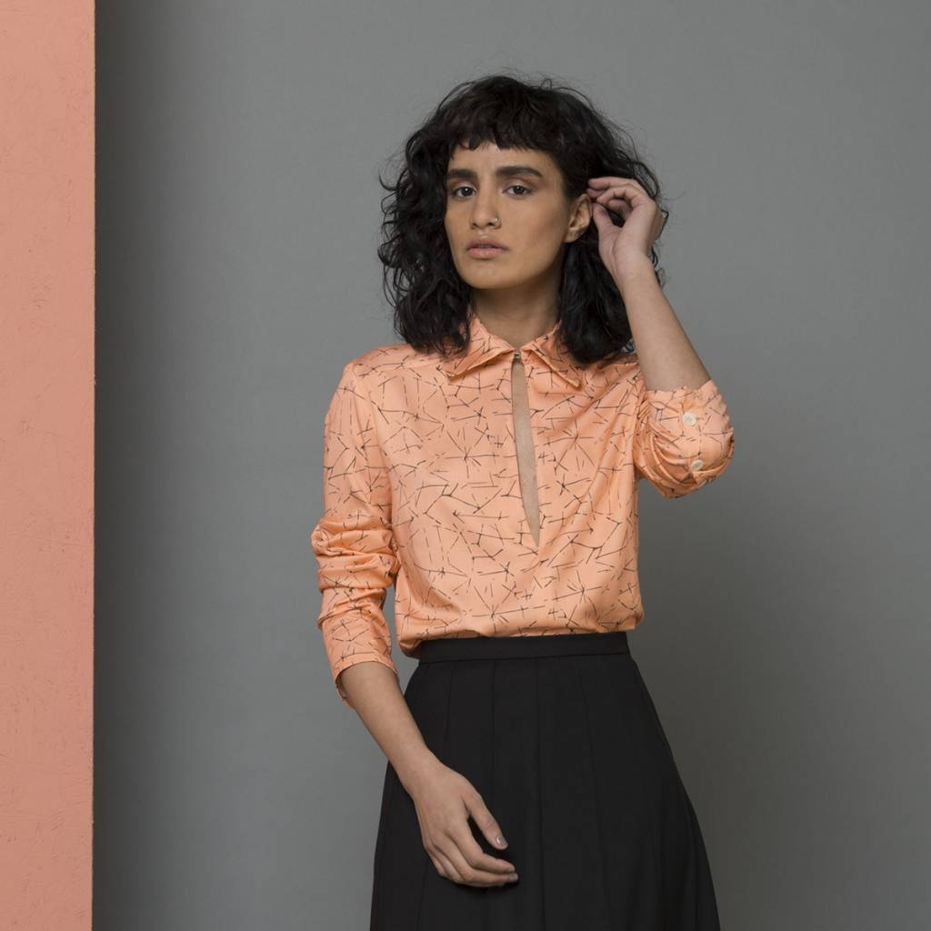 pink blouse with opening
