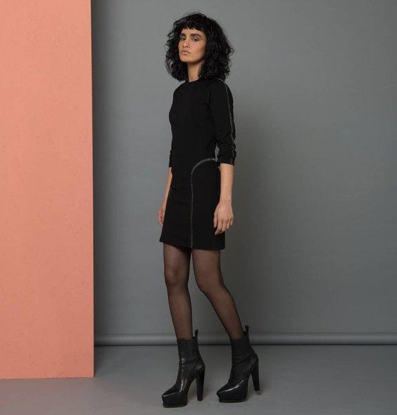 jurk kort stitches zwart