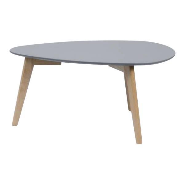 Duverger Vintage salontafel met afgerond driehoekig plateau in grijs en eiken onderstel 70X30