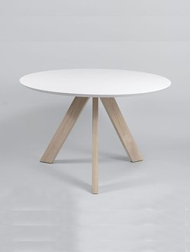 Duverger Vintage tafel rond wit / eik