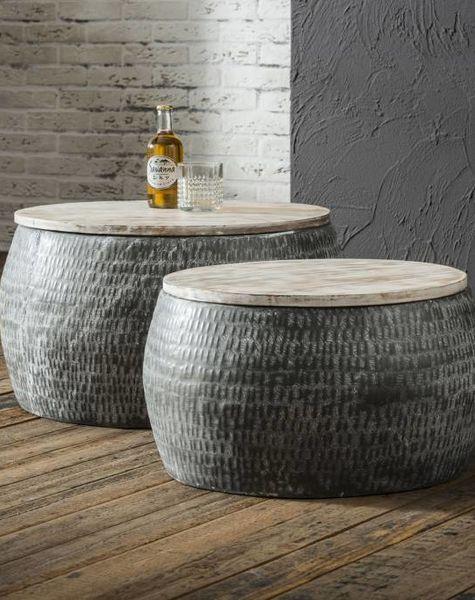 Duverger Trommel - Salontafels - set van 2 - rond  -staal - gepatineerd massief mango blad - dia 50cm en 60cm