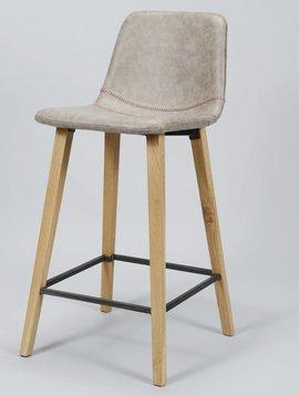 Duverger Set 4 barstoelen kuip Wax PU bruin zig-zag stiknaad met vierkante poten in hout