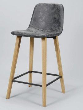 Duverger Wax PU - Barstoelen - set van 4 - antraciet - zig-zag stiknaad - vierkante poten - hout