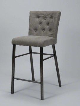 Duverger Jeans -Barstoelen - set van 2 - met armleuningen - grijs antraciet - curves gecapitonneerd - RVS onderstel