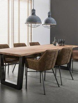 Duverger Massive - Eettafel 240 - massief acacia stamhout - 38mm dik - trapezium-vormig frame - zwart geschuurd RVS - 240x100x77cm