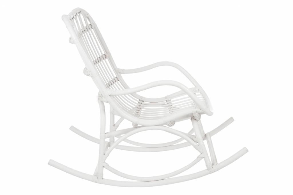 Duverger Nostalgic - Schommelstoel - rotan - mat wit - 66x110x93cm