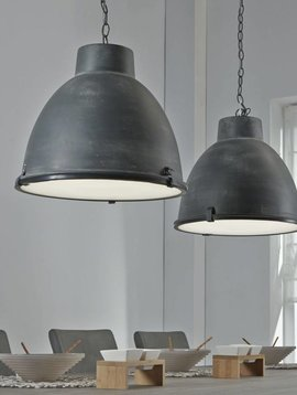 Duverger Industry - Hanglamp - dubbele kap - grijs - 125x43x150cm