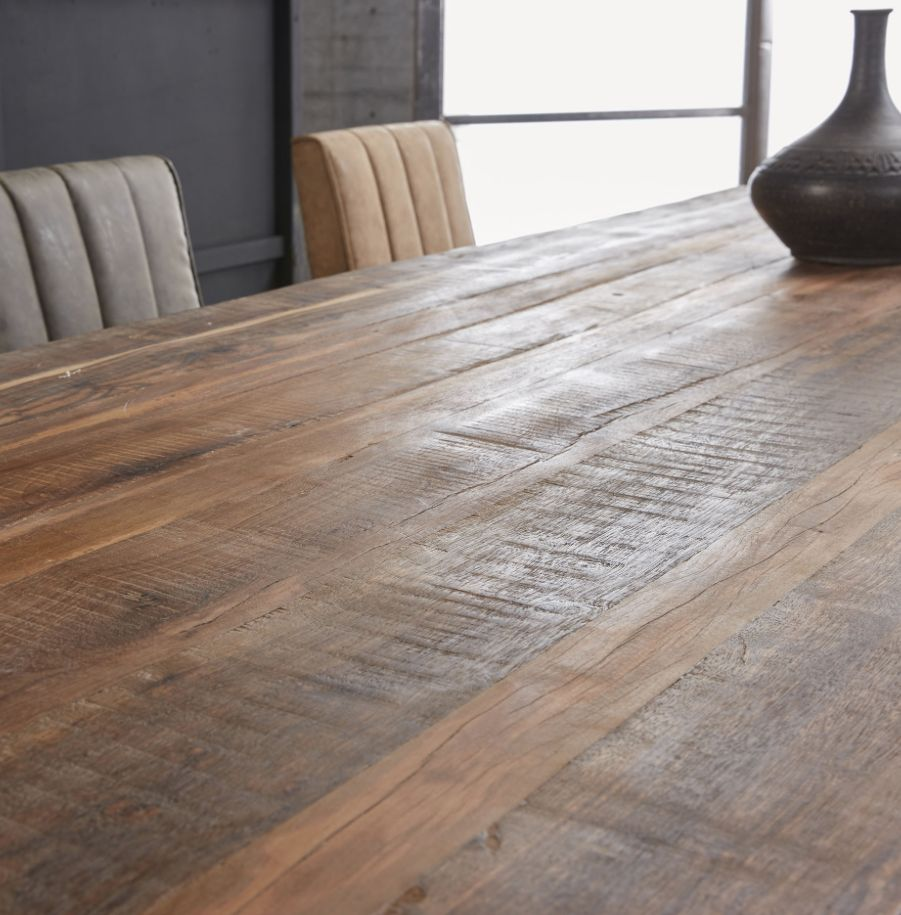 Duverger Eettafel - massief gerecycled hout - Nature - 220x90x77cm