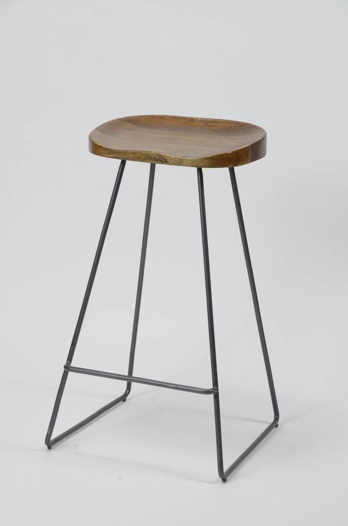 Duverger Barstoelen - set van 4- massief houten acacia zitting - zwart metalen onderstel - 37x29x71