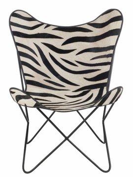 Duverger Zebra Butterfly - Fauteuil -hoes - kunstleer - zebra deco - metalen frame - 75x87x86cm
