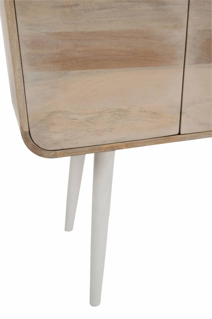 Duverger Retro Sheesham whitewash - Sidetable - whitewash & wit - 3 laden - 105x35x100cm