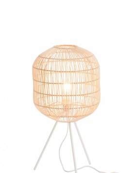 Duverger Bamboo light - Tafellamp - cilinder - bamboe - naturel - driepikkel - metaal