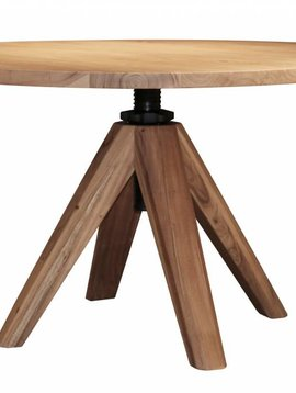Duverger Eettafel - rond - dia 135 cm - in hoogte verstelbaar - van 76 tot 92 cm - massief acacia - naturel
