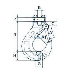 Cartec gaffelhaak met veiligheidsklep (gietdeel) grade 100
