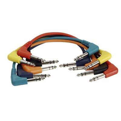 DAP FL42 set van 6 patchkabels stereo haaks-haaks 60cm
