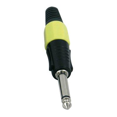 DAP 6,3mm Jackplug mono zwart met geel eindkapje