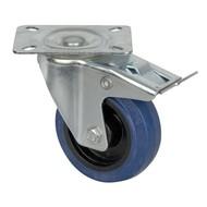 DAP Zwenkwiel 100mm geremd blauw